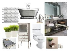 """""""Industrial fürdőszoba"""" by gyorkeibeatrix on Polyvore featuring interior, interiors, interior design, home, home decor, interior decorating, SomerTile, Home Decorators Collection, Waterworks and Golden Lighting"""