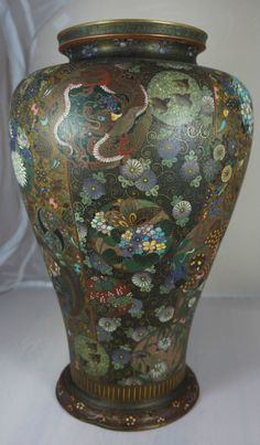 "JAPANESE CLOISONNE BY OTA IN KORO SEE. IT WAS CERTAINLY AND Japanese cloisonné vase, ""by Ota in Koro"", 14 1/2 in tall."