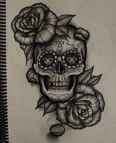 Skull tattoo bicep #2
