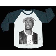 2PAC Smile T Shirt TuPac T Shirts Hip Hop T Shirt Punk Shirt Baseball... ($18) ❤ liked on Polyvore featuring tops, shirts, unisex shirts, blue top, long sleeve baseball shirt, blue long sleeve shirt and baseball shirts
