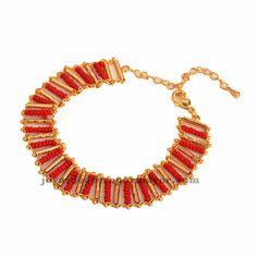 brazaleste de perlita moda color rojo en acero dorado inoxidable-BRBTG76278