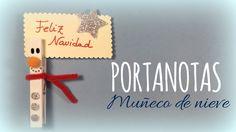 Pinza portanotas con muñeco de nieve para Navidad - http://www.manualidadeson.com/pinza-portanotas-muneco-nieve-navidad.html