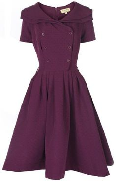 Lindy Bop 'Viola' Vintage 1950's Plum Shawl Collar Double Breasted Rockabilly Party Dress - Buy New: $46.99