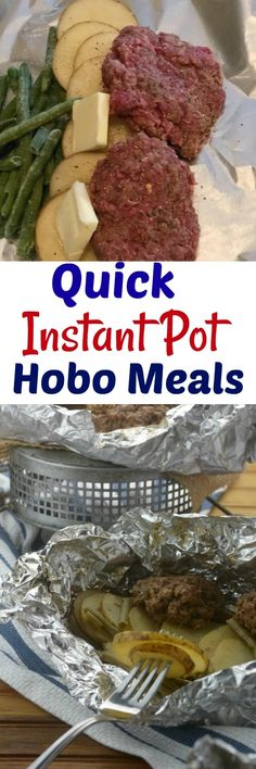instant pot recipes Easy Instant Pot Hobo Meals that the entire family will love. A seasoned ground beef patty, comforting and hearty veggies and potatoes, topped with seasonings that make this an all-in-one dish that is perfect any day of the week. Best Instant Pot Recipe, Instant Pot Dinner Recipes, Recipes Dinner, Vegan Burrito, Foil Packet Meals, Foil Packets, Poulet Hasselback, Fat Bombs, Isagenix