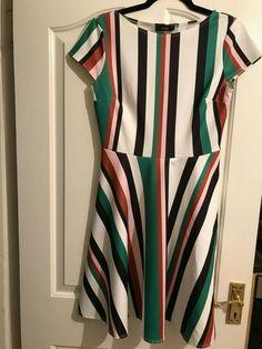Zak Chloe Designer Dress - Multi Colour Striped Skater Dress Size 10