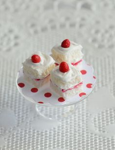 Miniature Strawberry Shortcake Squares by CuteinMiniature on Etsy, $21.45