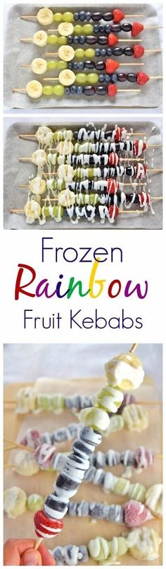 These frozen rainbow fruit kebabs make a great healthy summer snack that kids can make themselves.