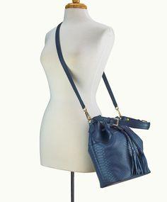 ed1f55b5dd Jenn Bucket Bag Navy Embossed Python