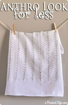 Anthropologie Inspired Feather Dishtowel Sharpie Art