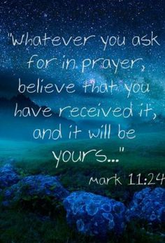 BELIEVE AND RECEIVE! (1 John 5:13-15). I tell you, you can pray for anything, and if you believe that you've received it, it will be yours (Mark 11:24)... (2 Corinthians 1:20) (Philippians 4:6) (Matthew 6:33) (Isaiah 55:8-9) (Romans 8:28).