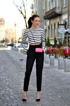 black & white with a touch of neon pink