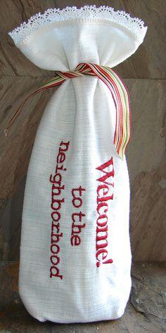 Wine Gift Bag Reuseable Welcome to the Neighborhood by Oohasparkly, $7.95