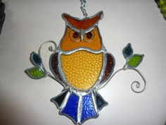 SUNNY OWL//////Vintage Stained Glass Owl Sun by AlmostHomeMemories, $45.00