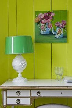 Desk vignette in green hues , raspberry accent