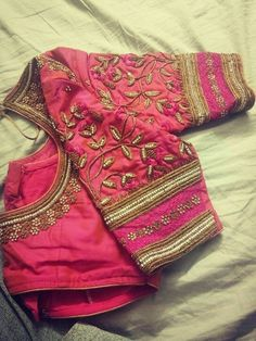 We shall hand embroidered blouse New Saree Blouse Designs, Simple Blouse Designs, Stylish Blouse Design, Bridal Blouse Designs, Sari Blouse, Indian Blouse, Indian Wear, Designer Blouse Patterns, Skirt Patterns