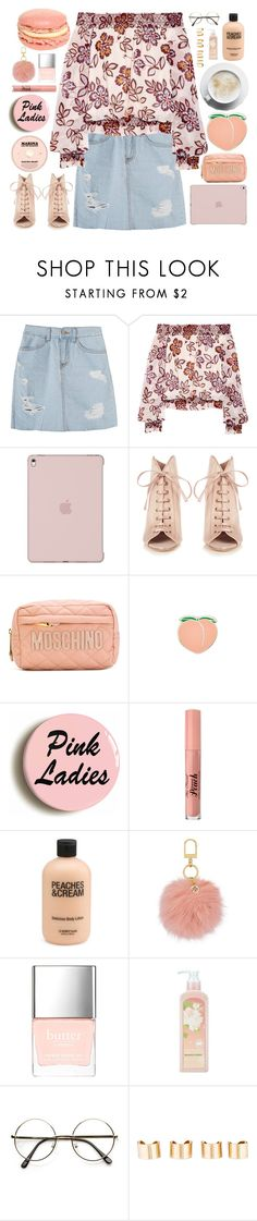 """Peaches and Blush"" by unicornonthecobb ❤ liked on Polyvore featuring Tory Burch, Jimmy Choo, Moschino, Dolce Vita, PINTRILL, Too Faced Cosmetics, Butter London, nature republic, ZeroUV and Maison Margiela"