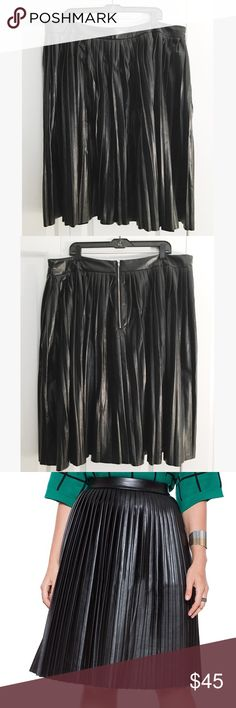 """Eloquii Studio Pleated Faux Leather Midi Skirt Eloquii Studio Pleated Faux leather Midi skirt with laser cut hem and soft microsuede lining. Exposed metal back zipper. Size 22 but professionally tailored at the waist to a size 20 (42"""" around) Eloquii Skirts Midi"""