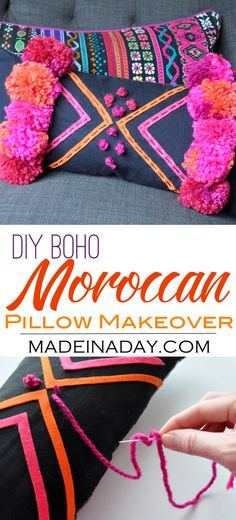 DIY Boho Pink Pom Moroccan Pillow,Makeover a cute lumbar pillow using felt and pom poms! Bohemain, boho decor, moroccan decor, tribal print via Makeover a cute lumbar pillow using felt and pom poms! Fabric Crafts, Sewing Crafts, Sewing Projects, Cork Crafts, Cardboard Crafts, Décor Boho, Boho Diy, Bohemian Decor, Diy Throw Pillows