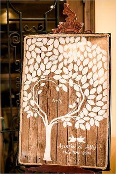 rustic wooden guest book