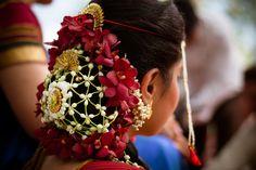 The Hairdo :) by Aditya Mahagaonkar on Indian Bridal Hairstyles, Bun Hairstyles, Hair Buns, Pula, Indian Weddings, Bridal Hair Accessories, Garlands, Desi, Brides
