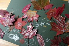 Fall Leaf Drawing and Doodling with Metallic Sharpies for Thanksgiving leaf garland