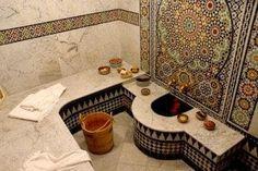 Riad El Amine Fès, Fez Morocco moroccan tile-work, Zellij-F.❤ many generations of all - Moroccan Bathroom, Moroccan Decor, Salon Interior Design, Bathroom Interior Design, Turkish Bath House, Deco Spa, Fez Morocco, Plafond Design, Shower Cabin