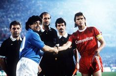 Napoli's Maradona and Bayern München's Klaus Augenthaler before their UEFA Cup match in 1989.