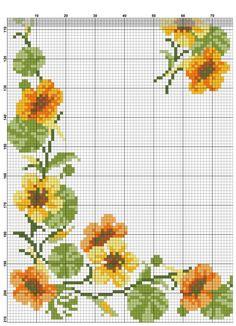 Kanaviçe Masa Örtüsü Örnekleri Cross Stitch Art, Cross Stitch Borders, Cross Stitch Flowers, Cross Stitching, Cross Stitch Patterns, Embroidery Patterns Free, Hand Embroidery, Sewing Patterns, Pixel Crochet