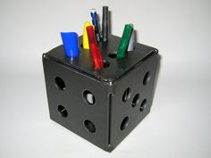 Dice Pen Holder Welded Handmade Metal Desk by LethalFabrication, $35.00