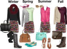 """""""1 Skirt, 4 Seasons"""" by hannah91994 ❤ liked on Polyvore"""