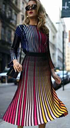 Striped multicolored long sleeve sweater, coordinating striped pleated multicolored midi skirt, gold sculptural earrings and black ankle-strap pumps {Kenzo, YSL, fall fashion, colorful dressing, midi skirt, classic dressing, classy style}
