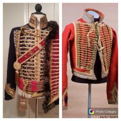 NAPOLEONIC WARS OF 1812-14 ~ left:: the Hussar suite of Napoleon's officer (costume maker: Angela Mombers) -- right:: the Hussar suite of Russian officer ~