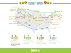 Road trip time! If you're driving cross country, this infographic will help you find the best route by season, travel time, roadside attractions and landmarks, and more!