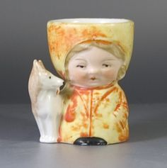 1930s / 1950s Egg Cup formed as a Girl with an Adjacent Dog-Sold