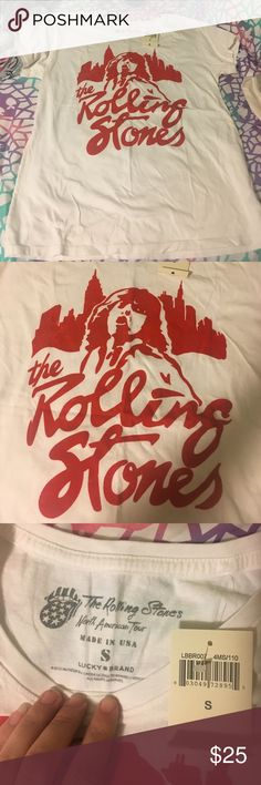 Lucky Brand NWT men's Rolling Stone Tee Small This is a new with tags Lucky Brand Rolling Stones short sleeve white tee with a red logo with mick jagger. Lucky Brand Shirts Tees - Short Sleeve