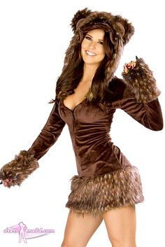 Besuche uns gern auch auf dressme24.com ;-) Minikleid - Teddybär Kostüm -  JValentine USA - Teddybär Kostüm -. JValentine USA. Sexy Langarm Minikleid mit knuffiger Kapuze, die mit Teddybärengesicht und Ohren verziert ist. Zusätzlich ist dieses Stretch Plüsch Kleid mit einem weichem Fellimitat verarbeitet. #Kostueme, #Sexykostueme, #Teddybaerkostuem