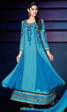 USD 62.4 Teal Blue Georgette Ankle Length Anarkali Suit 42623
