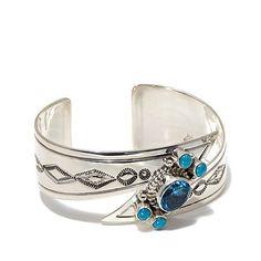 Blue Topaz and Turquoise Stone Navajo Bracelet – Tribal Native L.A.