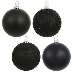 "Vickerman 2.4"" Black Plastic Ball Christmas Tree Ornaments (Set of 24) in Home & Garden, Holiday & Seasonal Décor, Christmas & Winter   eBay"