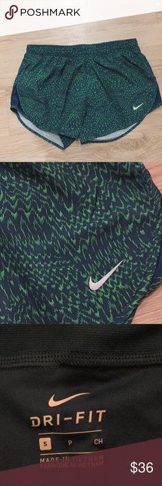 NWT women's size small Nike dri-fit shorts New with tags women's size small Nike dri-fit shorts. Shorts have a drawstring tie,underwear-like lining on the inside, as well as a zippered pocket on the back of the shorts. Color is green Nike Shorts