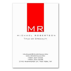 Modern Monogram White Red Clean Business Card. I love this design! It is available for customization or ready to buy as is. All you need is to add your business info to this template then place the order. It will ship within 24 hours. Just click the image to make your own!
