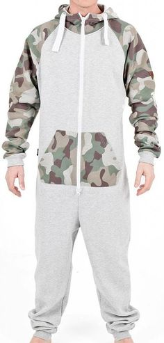 230e1f04731c SkylineWears Men s Fashion Onesie Hooded Jumpsuit One Piece non Footed  Pajamas Bodysuit Playsuit Small Gray Mens