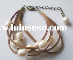 leather cord freshwater pearls beads handmade bracelet find glass pearls at http://www.ecrafty.com/c-595-glass-pearls.aspx