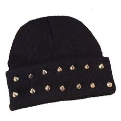 Imixlot Rock Hip-hop Studded Spike Rivet Stud Knit Beanie Hats Various ❤ liked on Polyvore featuring accessories, hats, studded beanie, knit beanie hat, studded beanie hat, spiked beanie hat and spiked beanie