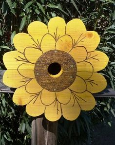 Birdhouse Big Sunflower in Yellow ,Wood Burned Detailing,perfect for the song birds on your porch or in a nearby tree