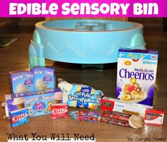 {Think Outside the Toy Box} Edible Sensory Bin play foods, kids play, toddler summer time activities, sensory and messy play outside, dying food, edible play