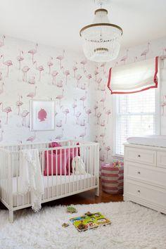 Ideias para decorar as paredes do quarto de bebê e crianças! - Just Real Moms // adorable pink and white girls room with flamingo wallpaper and roman shade.