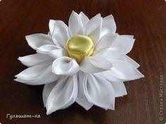 WHITE LOTUS TUTORIAL Master class Tsumami Kanzashi: MK Lotus Feeds birthday.  Photo 1