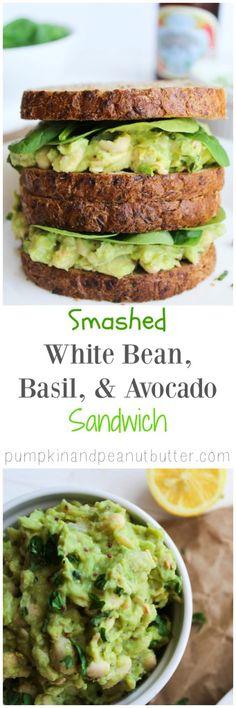 Smashed White Bean, Basil, & Avocado Sandwich - pumpkinandpeanutbutter