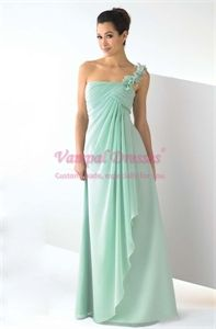 Chiffon Jade One Shoulder Pleated Empire Bridesmaid Dresses Prom Gown $118.00